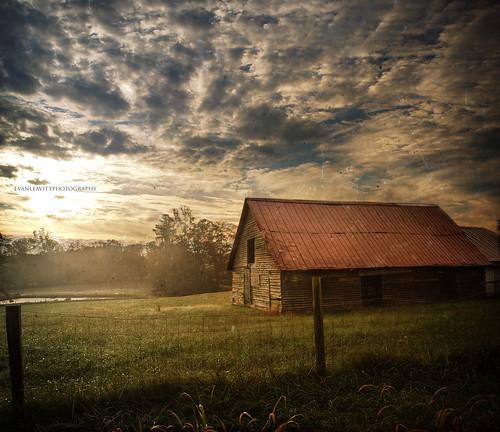 county wood morning autumn light sky texture beautiful clouds barn rural sunrise ga georgia amazing cool pond day darkness decay air country foggy olympus fresh weathered hdr barrow smells e510 photomatix waslookingforacoveredbridgeandallifoundwasthisbarn