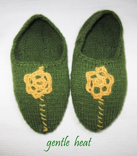 Adult knitted and felted wool slippers