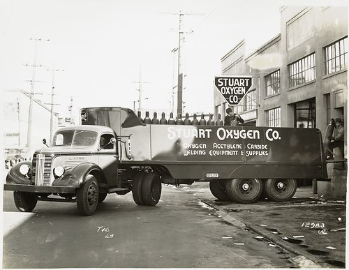 [Model T 16 - L 8 in front of Stuart Oxygen Co. loading gas ...