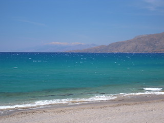 Image de Kalamaki Beach (Παραλία Καλαμακίου) Plage d'une longueur de 1164 mètres. blue sea snow crete