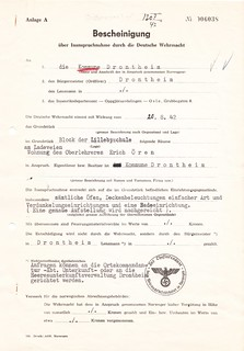 1942.08.20 - Beslagleggelsesbevis på overlærer Erik Ørens bolig ved Lilleby skole