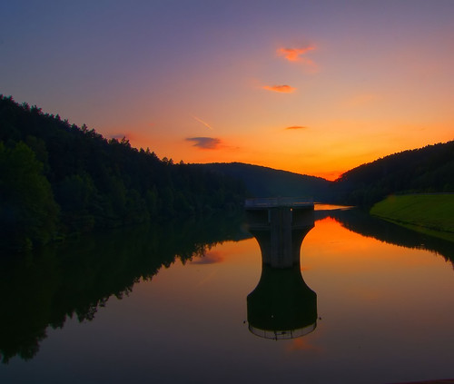 sunset germany geotagged see hessen hdr spillway canoneos450d marbachstausee