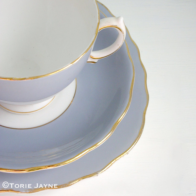 pastel blue tea set