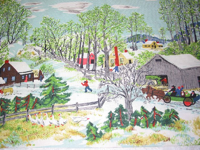 "Vintage Fabric ~ Grandma Moses ""Early Springtime on the Farm"""