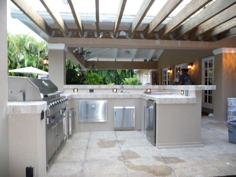 Custom Outdoor Kitchen Built In Grill Pergola A Photo On