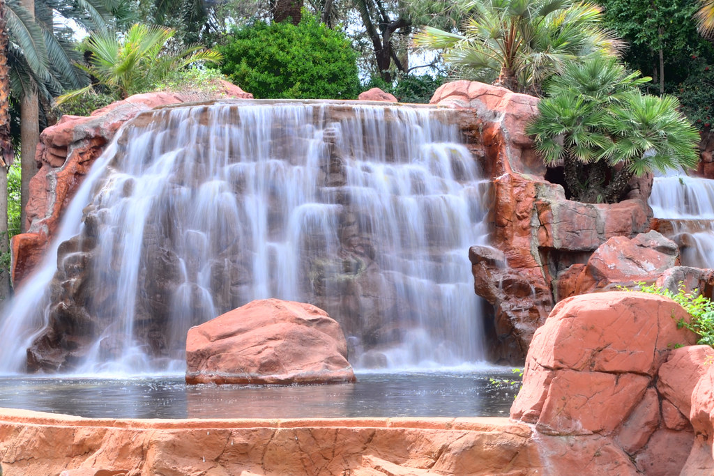 Waterfall at Entrace to Mirage Hotel and Casino, Las Vegas, Nevada, USA