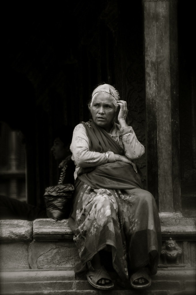 Adjusting Hair In Patan, Nepal