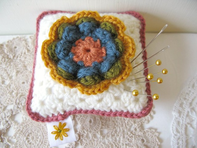 Giveaway! Crochet pincushion by Emma Lamb