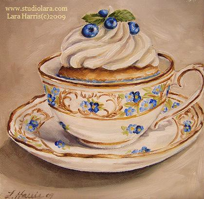 Blueberries & Vintage Teacup, Cupcake Painting in Oil