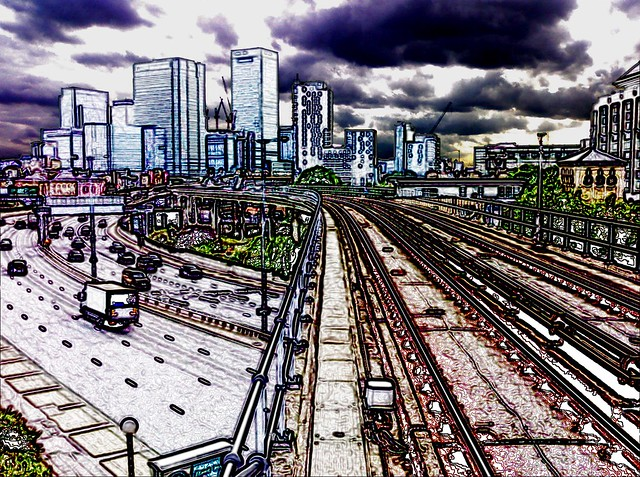 View From East India DLR (in colour)