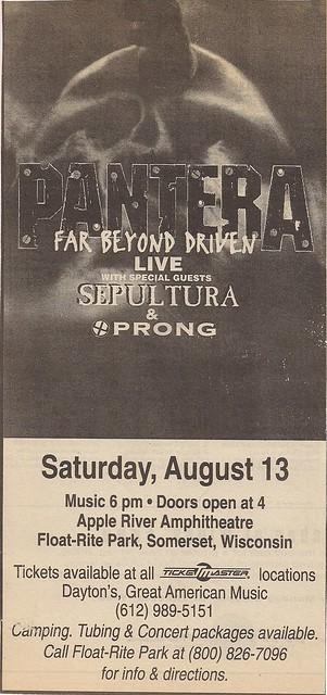 08/13/94 Pantera/Sepultura/Prong @ Somerset, WI (Print Ad)