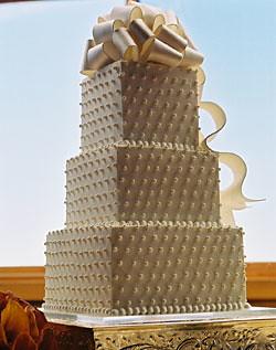 Beaded Ribbon and Bow Wedding Cake
