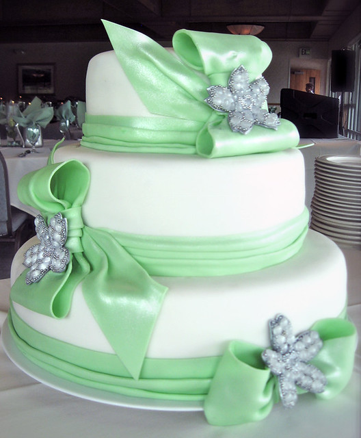 Three Tier Wedding Cake With Seafoam Green Fondant Ribbons