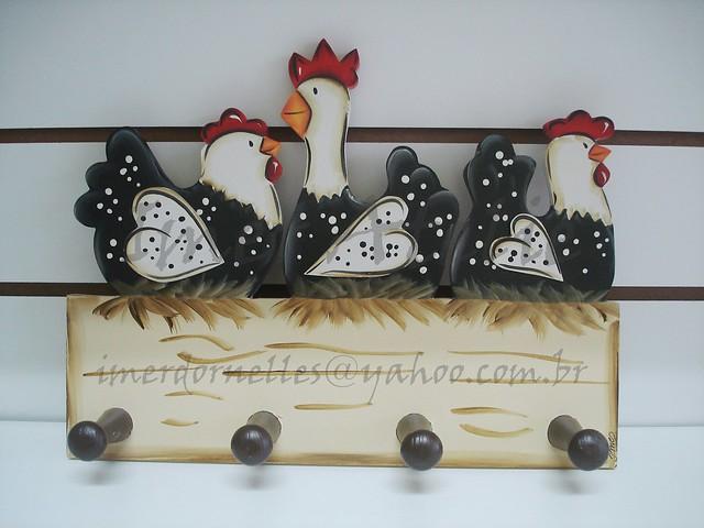 cabideiro 3 galinhas angola  decoração para cozinha