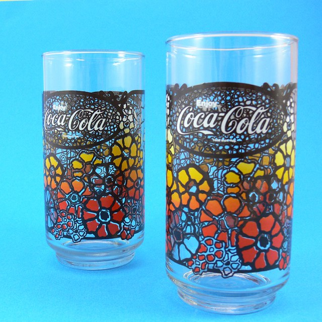 C 1970s Coca Cola Coke Glasses Orange And Yellow Flower