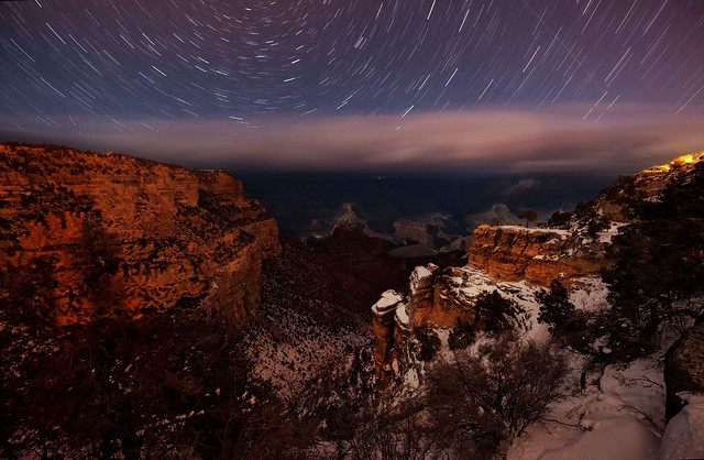 mountain, star, trail