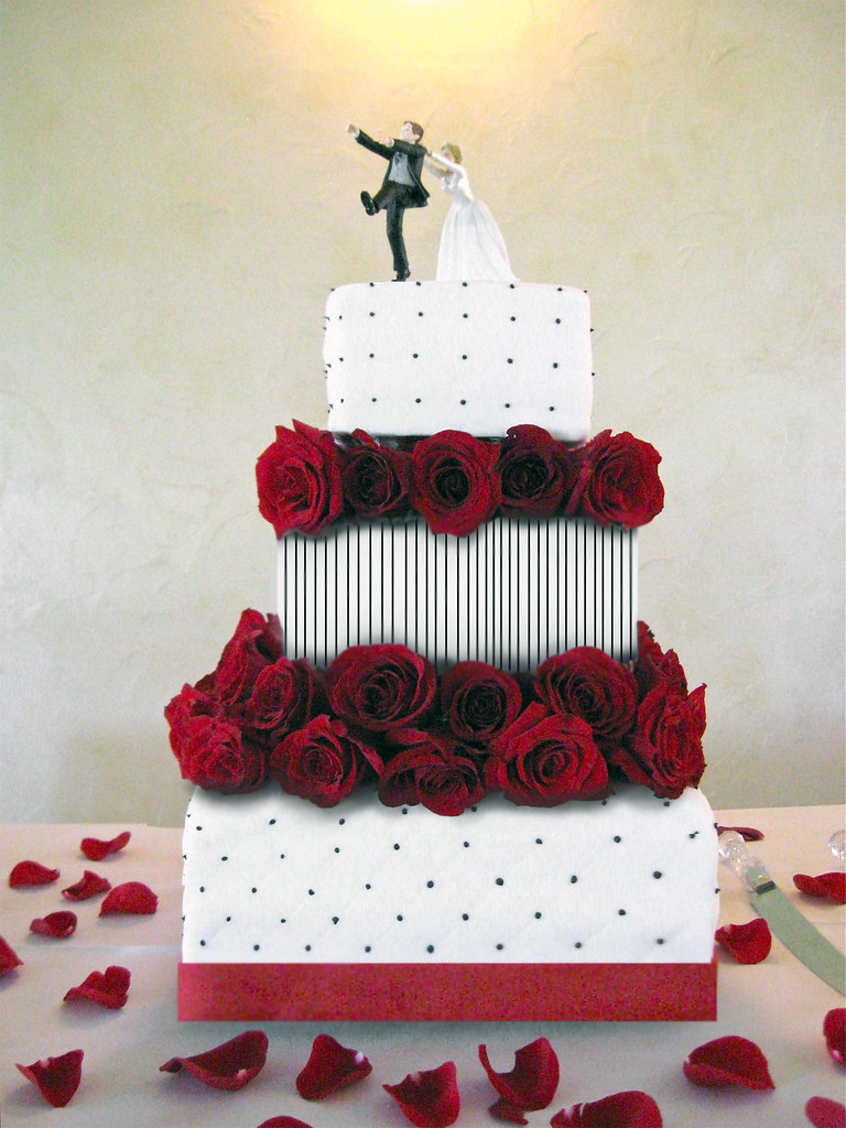 Three Tier Cake For Poker Themed Wedding Fondant And Fres Flickr