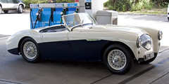 jaguar xk120(0.0), jaguar xk140(0.0), morgan +4(0.0), austin-healey 3000(0.0), jaguar xk150(0.0), coupã©(0.0), automobile(1.0), vehicle(1.0), austin-healey 100(1.0), antique car(1.0), classic car(1.0), vintage car(1.0), land vehicle(1.0), sports car(1.0),