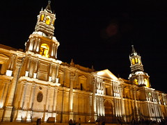 Peru Travel: Arequipa Cathedral at night