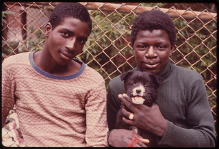 Two Black Youths and a Dog in Paterson, New Jersey ... 06/1974