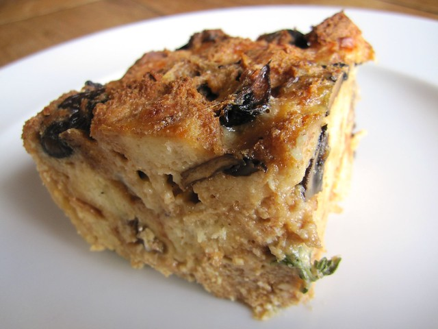 Roasted wild mushroom bread pudding slice | Flickr - Photo Sharing!