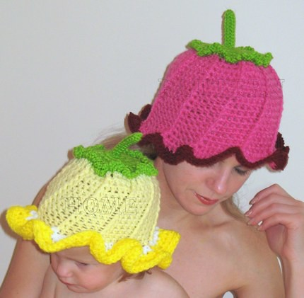 Crochet Flower For Hat : PDF crochet pattern ADORABLE HOT PINK FLOWER HAT Flickr - Photo ...
