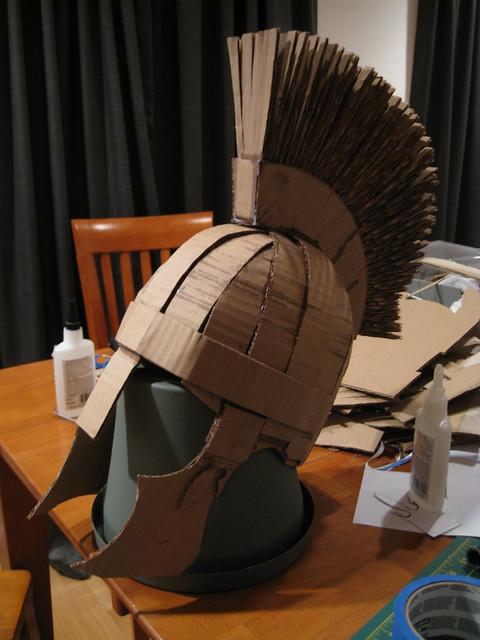 Partial Making Of Cardboard Roman Soldier Helmet