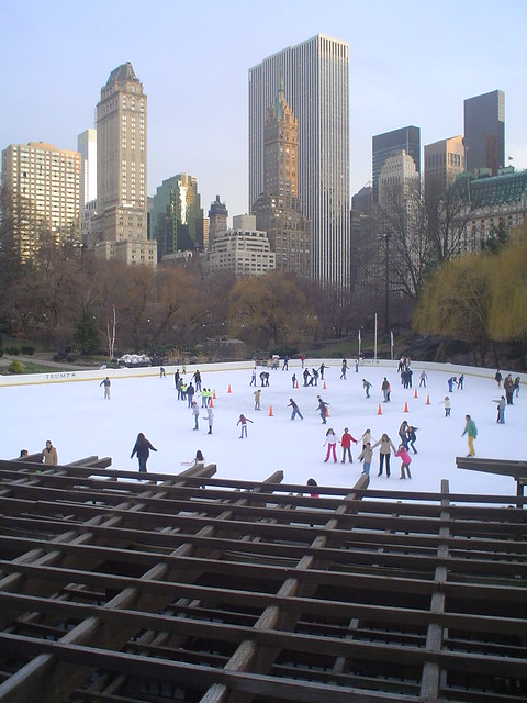 ice ring in central park new york city usa