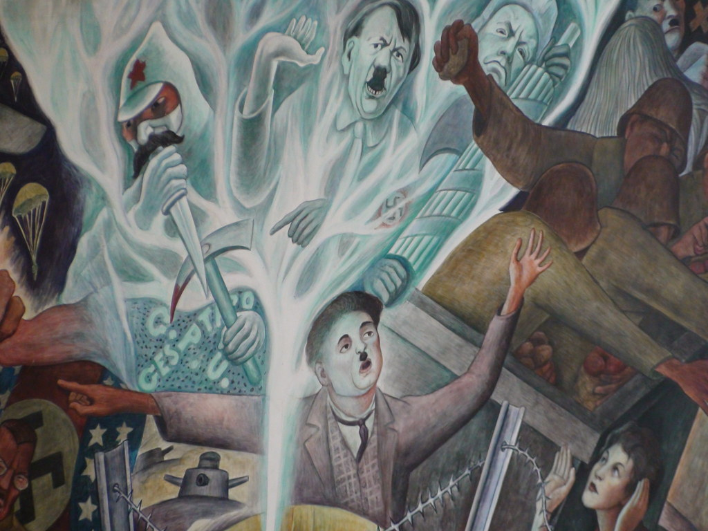 Hitler stalin and chaplin in diego rivera 39 s mural for Diego rivera mural san francisco