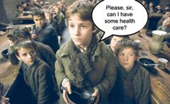Satirical image of child asking for health care