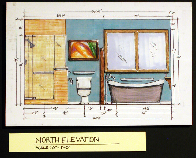 Residential bath design north interior elevation intr for Residential bathroom remodeling