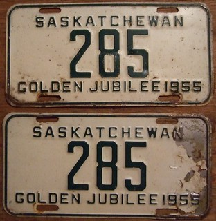 SASKATCHEWAN 1955 LICENSE PLATE PAIR ---#285
