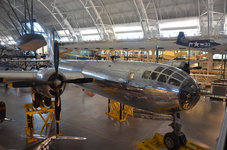 "Steven F. Udvar-Hazy Center: Boeing B-29 Superfortress ""Enola Gay"" (front starboard view), with Grumman F6F-3 Hellcat at back-right, among others"