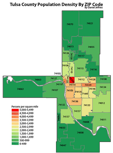 Population Density By Zip Code Map.Tulsa County Population Density By Zip Code Daniel Jeffries Flickr