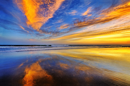 ocean california sunset cloud painterly color reflection beach landscape sand nikon bravo lowtide hdr highdynamicrange ventura d700 1424mm