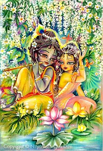 Radha Krishna At Lotus Pond Iskcon Desire Tree Krishna