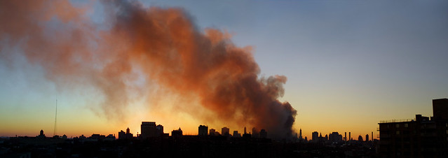 Smoke rising from the World Trade Center. September 11, 2001.