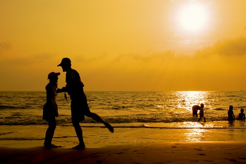 sunset sea beach dance portait we should