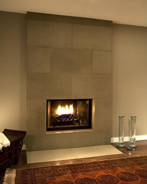 Cast concrete tiled fireplace in portobello flickr - Fotos chimeneas modernas ...