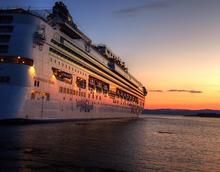 Norwegian Pearl at sunset