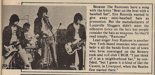 September 1976 Hit Parader Ramones News Item