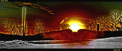 road winter light sunset red sky snow black tree art nature yellow clouds vermont wires killington jol