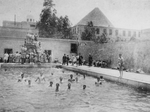 Cooling off at the swimming pool in Egypt during World War I