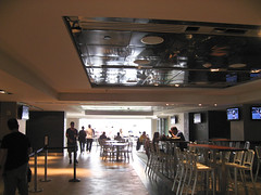 The Delta Club opens onto the stadium seating, giving a view from tables within.