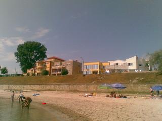 Image of  Plaja Eforie  near  Eforie Nord. sky tree beach buildings romania eforie