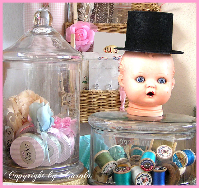 Studio vignette with a vintage doll head