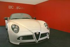 family car(0.0), alfa romeo giulietta(0.0), automobile(1.0), automotive exterior(1.0), alfa romeo(1.0), executive car(1.0), vehicle(1.0), automotive design(1.0), alfa romeo 8c(1.0), alfa romeo 8c competizione(1.0), land vehicle(1.0), supercar(1.0), sports car(1.0),