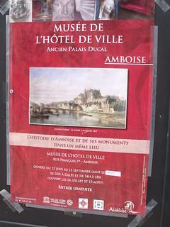 Amboise museum advert on the Musee de l'Hotel de Ville (Morin Hotel)