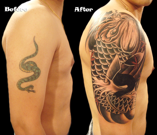 Koi fish tattoo cover up | Flickr - Photo Sharing!