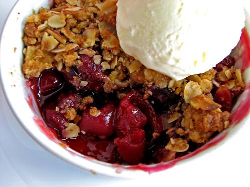 Cherry Crisp Made with Fresh Tart Cherries!